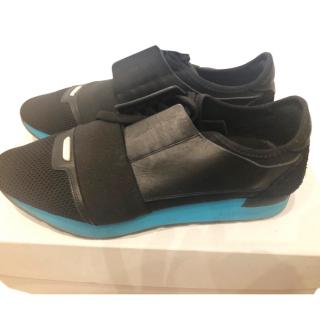 Balenciaga Men's Mosh Run Marine blue and black trainers