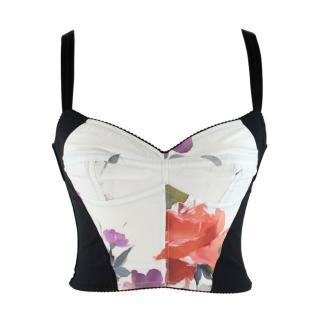 Dolce & Gabbana Flower Print Silk Bustier Top