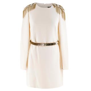 Versace Cream Mini Dress with Crystal Embellished Shoulders & Belt