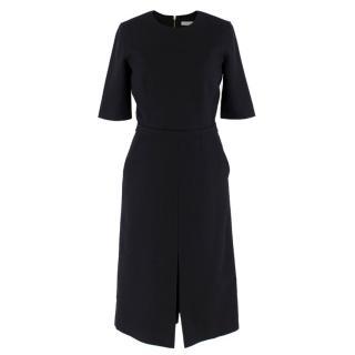 Victoria Beckham Wool Navy Shift Midi Dress