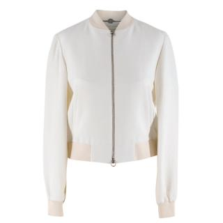 Stella McCartney White Python Pattern Bomber Jacket