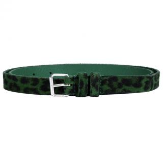 Saint Laurent green suede leopard belt