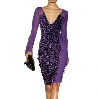 Gucci by Tom Ford Purple Velvet Mini Dress
