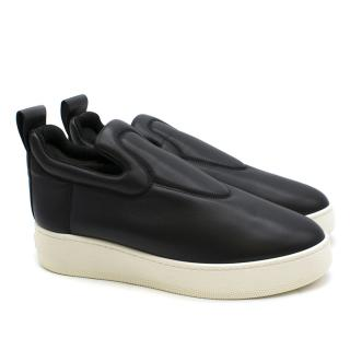 Celine Black Leather Slip On Sneakers