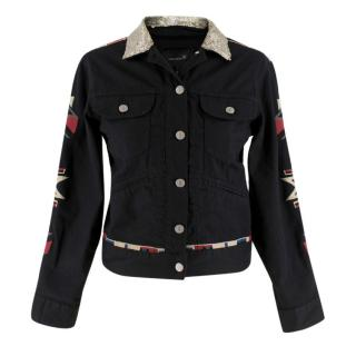 Isabel Marant Black Jeans Jacket with Sequin Collar