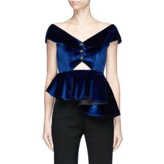 Self-Portrait Navy Off-shoulder Velvet Asymmetric Peplum Top