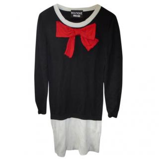BOUTIQUE MOSCHINO  Bow-embellished wool mini dress