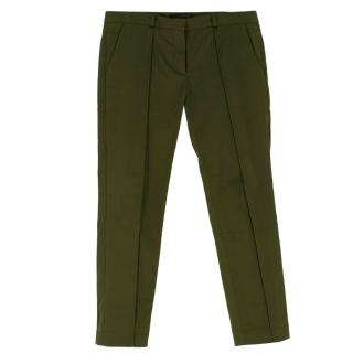 Victoria Beckham Cotton Green Slim fit Trousers