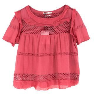 Isabel Marant Etoile Rose Cotton Flutter Top