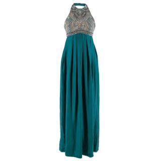 Matthew Williamson Halterneck Blue Silk Embellished Maxi Dress