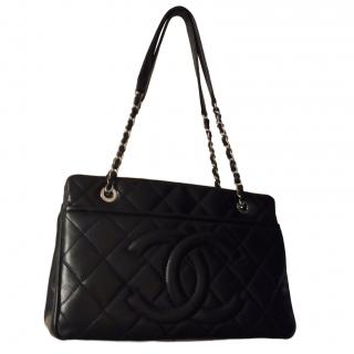 Chanel black caviar timeless tote with silver hardware