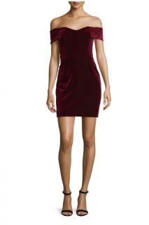 Nicholas Bordeaux Velvet Off-the-Shoulder Mini Dress