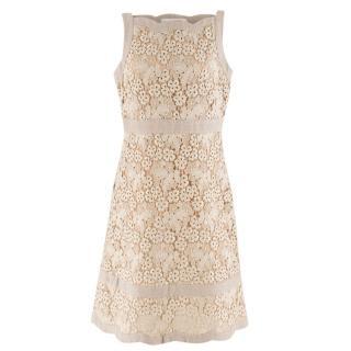 Valentino Beige Linen Lace A-line Midi Dress