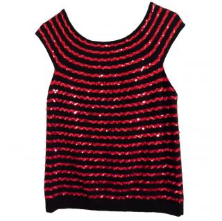 Sonia Rykiel striped cashmere and sequin top