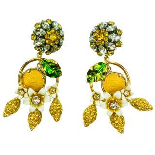 Dolce & Gabbana Sicily crystal emon clip earrings