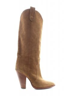 Isabel Marant camel suede slouchy western boots