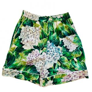 Dolce & Gabbana hydrangea hortensia printed silk shorts
