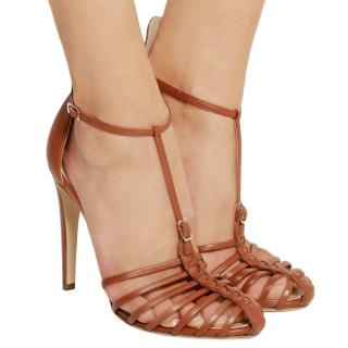 Altuzarra tan brown almond toe t strap heeled sandals