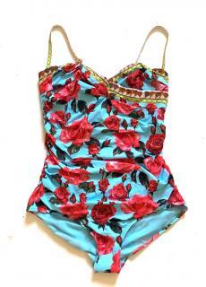 Dolce & Gabbana rose print turquoise swimsuit