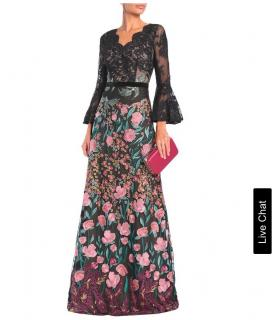 Marchesa Notte floral and black lace gown
