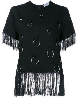 MSGM black fringed top with ring detail
