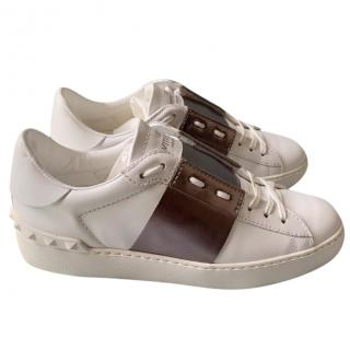 Valentino white open trainers with metallic grey band BNWT