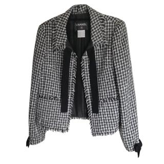 Chanel Fantasy Tweed black and white tweed jacket with frayed bows