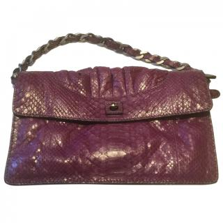 Zagliani small dark pink python shoulder bag