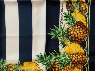 Dolce & Gabbana striped silk pineapple print scarf