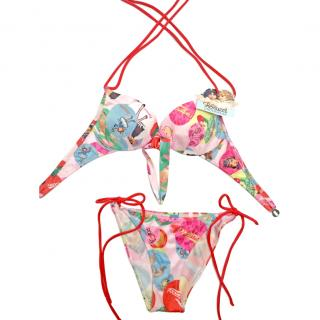 Fiorucci angel print multi coloured bikini BNWT