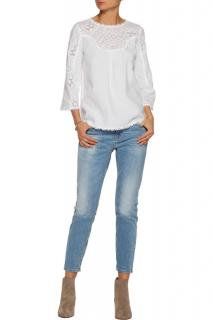 MIH white linen broderie anglaise top