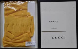 Gucci plain yellow logo tights