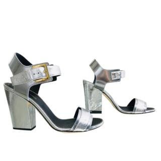 Sergio Rossi silver chunky heel sandals