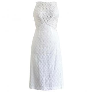 Missoni white and cream crochet sleeveless mid length dress