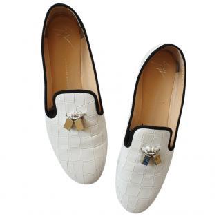 Giuseppe Zanotti white croc print loafers