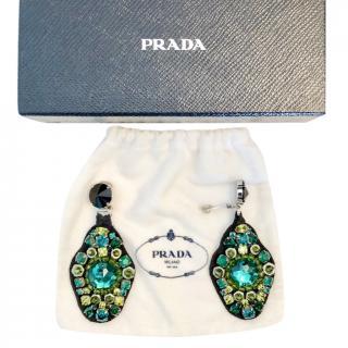Prada green and black crystal earrings