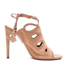 Aquazurra  nude suede sexy thing sandals