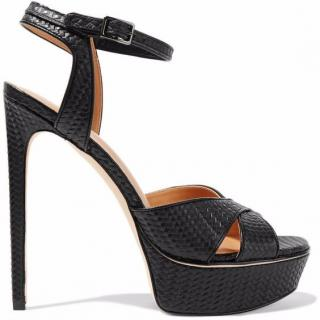 Halston Naomi embossed black ankle strap sandals