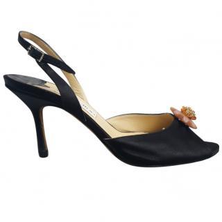 Jimmy Choo black embellished satin slingback sandals