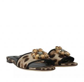 Dolce & Gabbana leopard print embellished slides