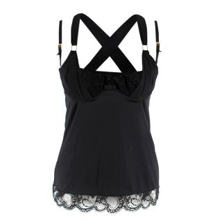 Dolce & Gabbana Black Silk Corset Top