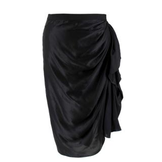 Lanvin Black Silk Pencil Skirt