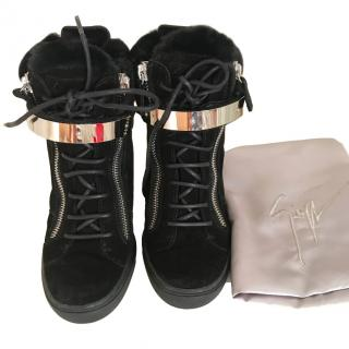 Giuseppe Zanotti high wedge black trainers with shearling fur