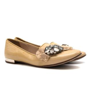 Miu Miu Biege Patent Leather Crystal Embroidered Loafers