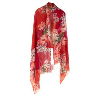 Pashma Cashmere blend Red Flower Scarf