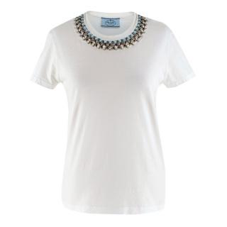 Prada White Cotton Embellished T-shirt