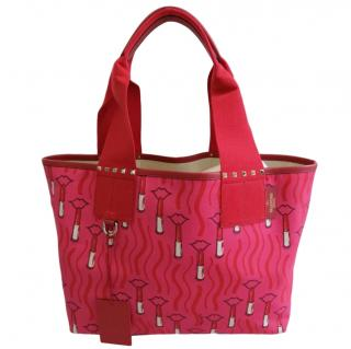 Valentino pink and red lipstick canvas tote bag