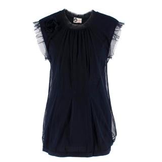 Lanvin Navy Cotton Mesh Top