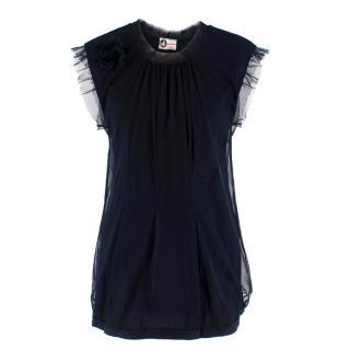 Lanvin Navy Cotton Mesh Top