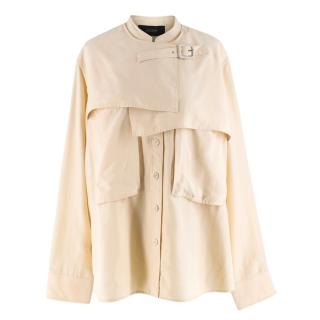 Joseph Beige Silk Wide Shirt Top